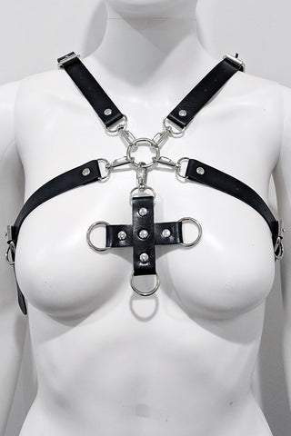 Sierra Pleather Choker Body Harness Hot Pink