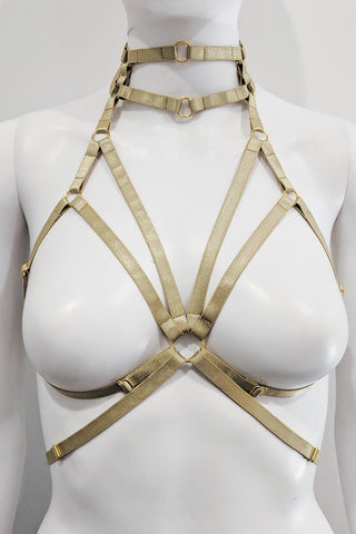 Leo Pleather Choker Body Harness Black