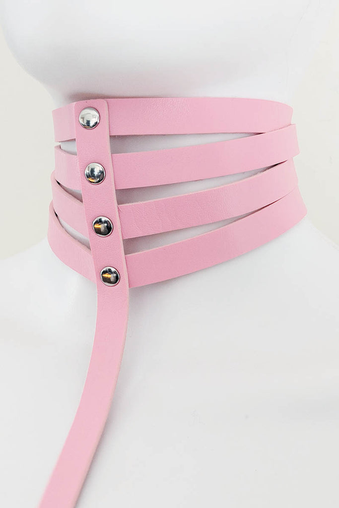 Marquise Pleather Choker Body Harness BabyPink
