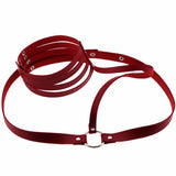Marquise Pleather Choker Body Harness Red