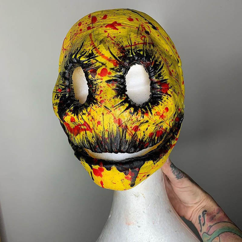 Mr Smiley Mask Yellow & Black Blood Splatter