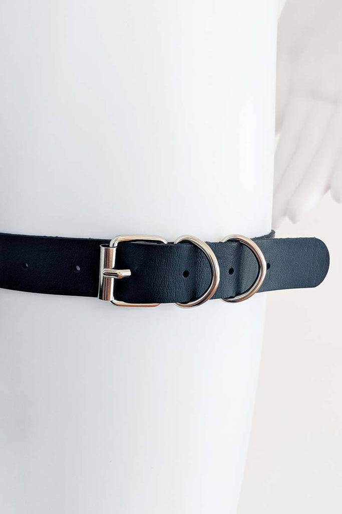 Sierra Pleather Garter Body Harness Black
