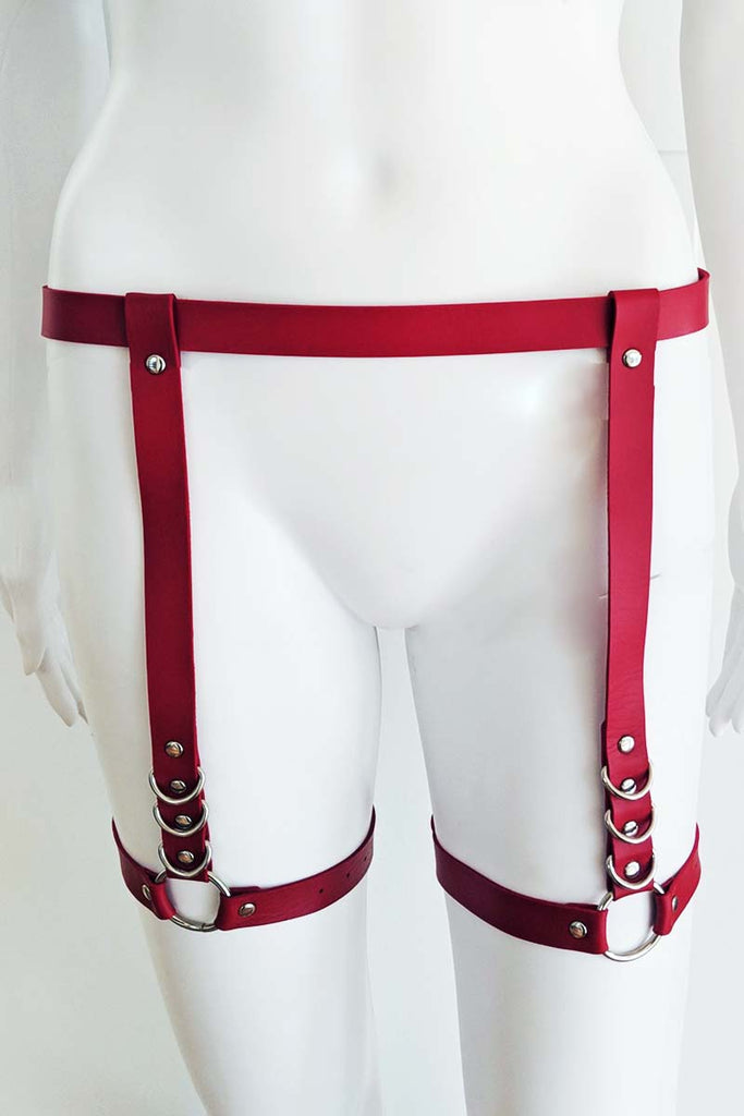 Sierra Pleather Garter Body Harness Red