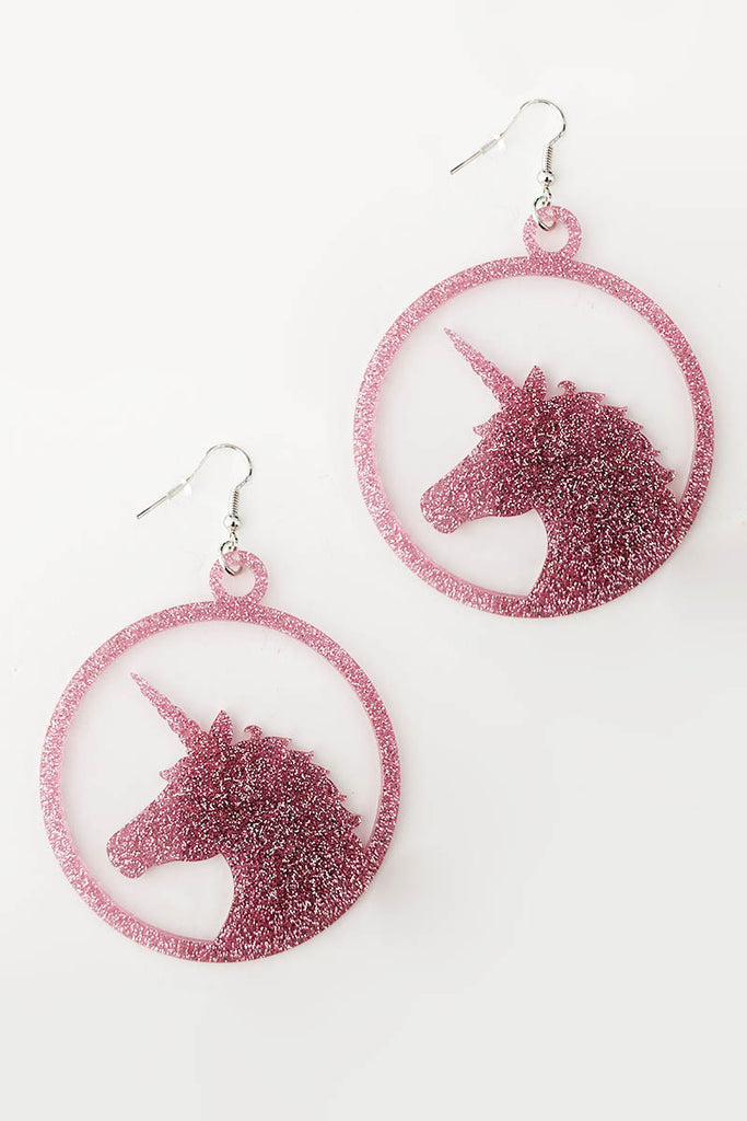 Unicorn Earrings Rose Pink Glitter