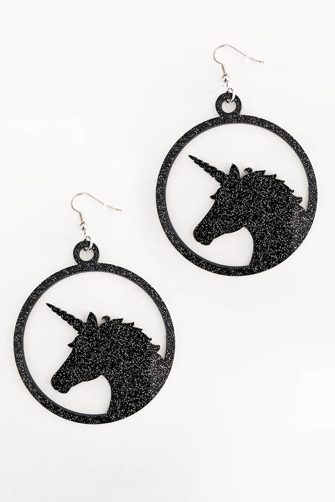 Unicorn Earrings Black Glitter