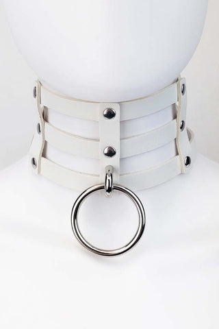 Raven Pleather Choker White