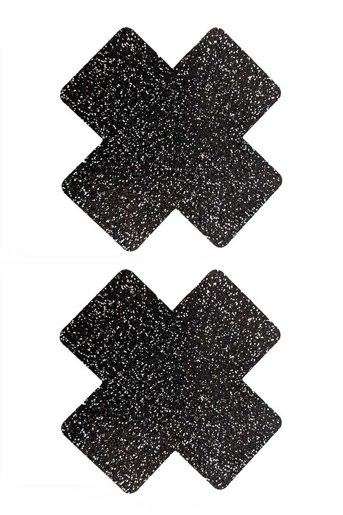 Onyx Sparkle Cross Glitter Pasties Black