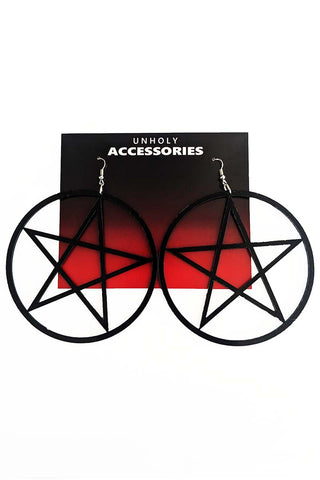 Mini Pentagram Earrings Black