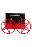 Large Pentagram Earrings Red
