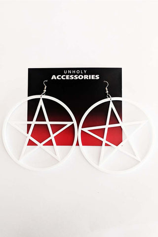 Large Pentagram Earrings Hot Pink