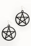 Mini Pentagram Earrings Black Glitter