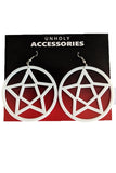 Mini Pentagram Earrings White