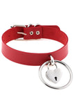 Treasure Locket Pleather Choker Red