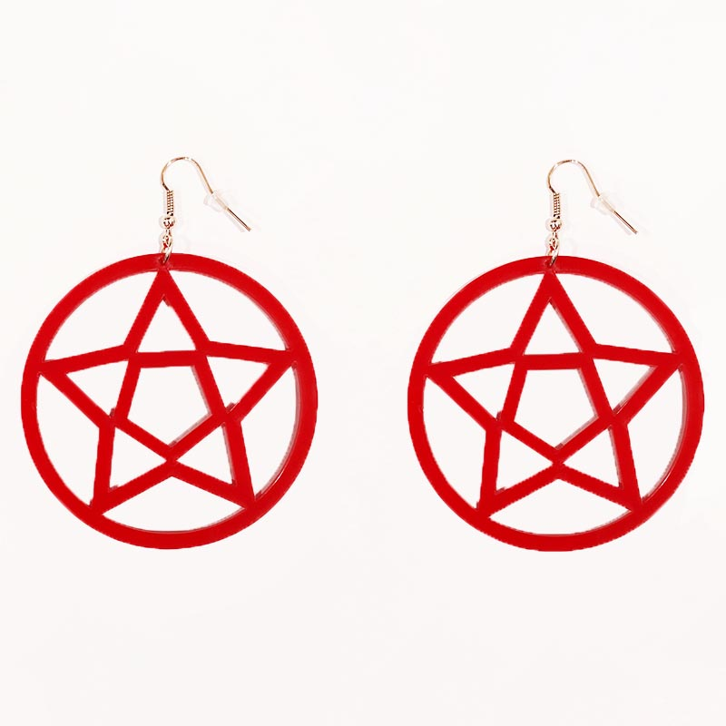 Mini Pentagram Earrings Red