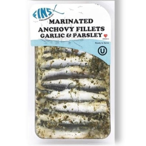 Fins Marinated Anchovy Fillets Garlic & Parsley 124 Gr ( 4.4 Oz )