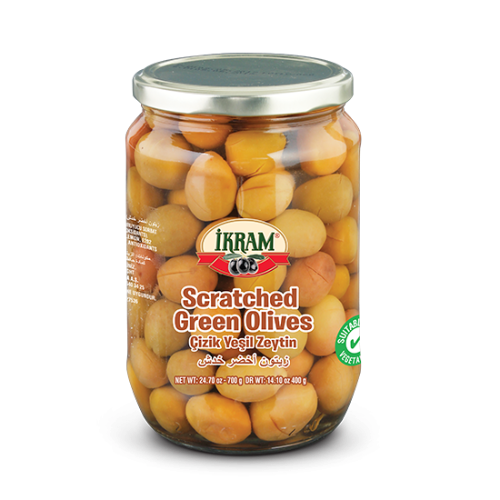 Ikram Scratched Green Olives 700 Gr ( 24.7 Oz )