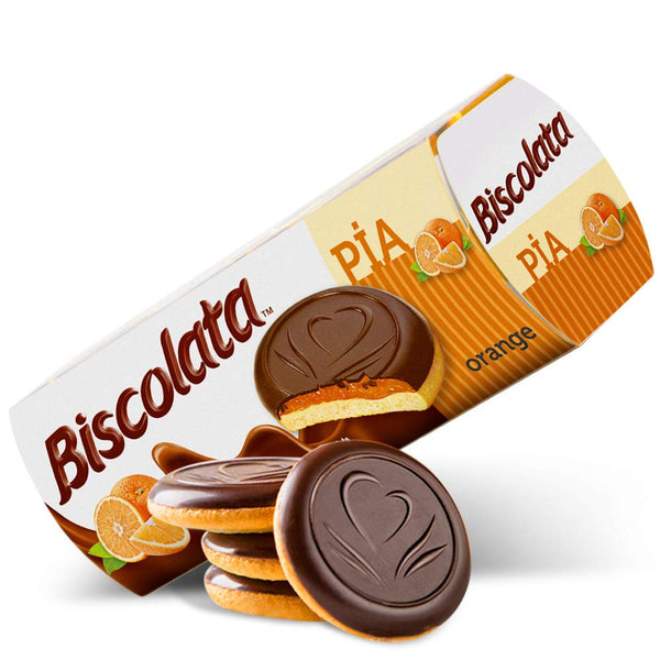 Biscolata Pia Orange Filled Cookies Topped With Dark Chocolate 100 Gr ( 3.5 Oz )