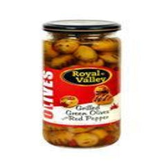 Royal Valley Grilled Green Olives With Red Pepper 500 Gr ( 17.6 Oz )
