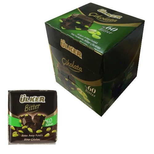 Ulker Bitter Chocolate Bar With Pistachio %60 6 Pack 70 Gr ( 2.46 Oz )