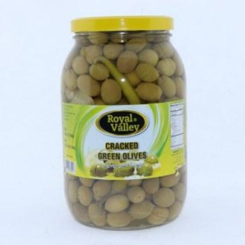 Royal Valley Green Cracked Nablus Olives 2 Kg ( 70 Oz )