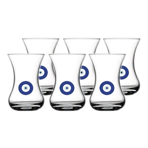 Pasabahce Ince Belli Turkish Tea Glass Set With Evil Eyes 125CC ( 4 1/4 Oz )