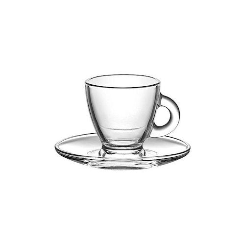 Lav Roma Coffee Set Glass & Saucers 12 Pcs Rom403 & Rom274 95cc ( 3 1/4 Oz )