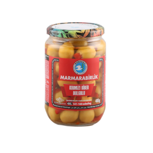 Marmarabirlik Green Olives With Stuffed Red Pepper 680 Gr ( 23.9 Oz )