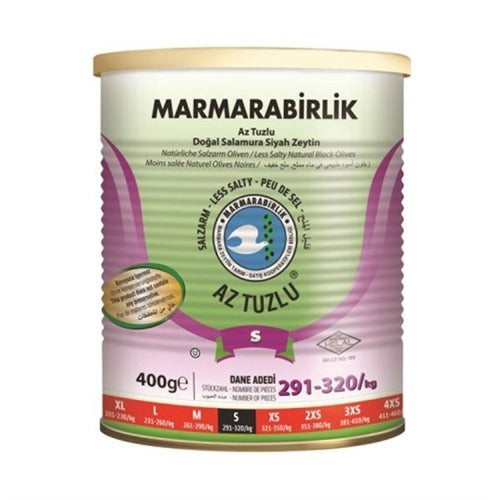 Marmarabirlik Black Olives Low Salt ( 291-320 ) 400 Gr ( 14.1 Oz )
