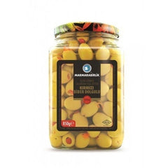 Marmarabirlik Green Olives With Stuffed Red Pepper 850 Gr ( 29.9 Oz )