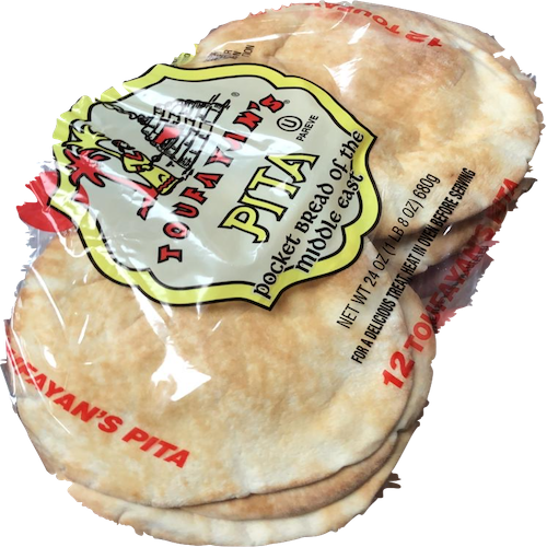 Toufayan White Pita 12 Loaves 680 Gr ( 24 Oz )