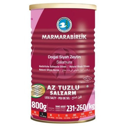 Marmarabirlik Black Olives Low Salt ( 231-260 ) 800 Gr ( 1.8 Lbs )