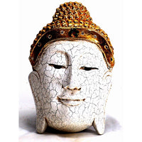 Buddha mask; white and gold wood, small