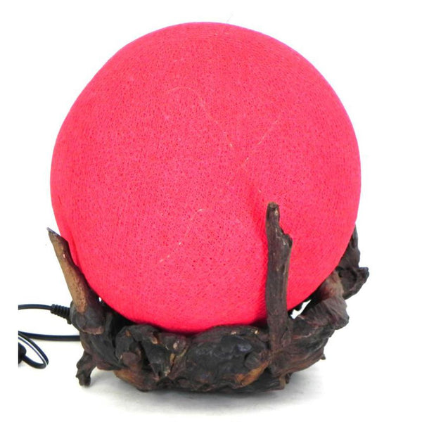 "teak cradle ball lamp, 8""red"