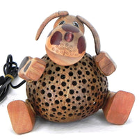 Lamp-coconut shell-lamp-sitting dog-8''