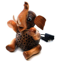 Lamp-coconut shell-sitting elephant