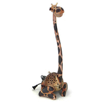 Lamp-coconut shell-sitting giraffe-24''