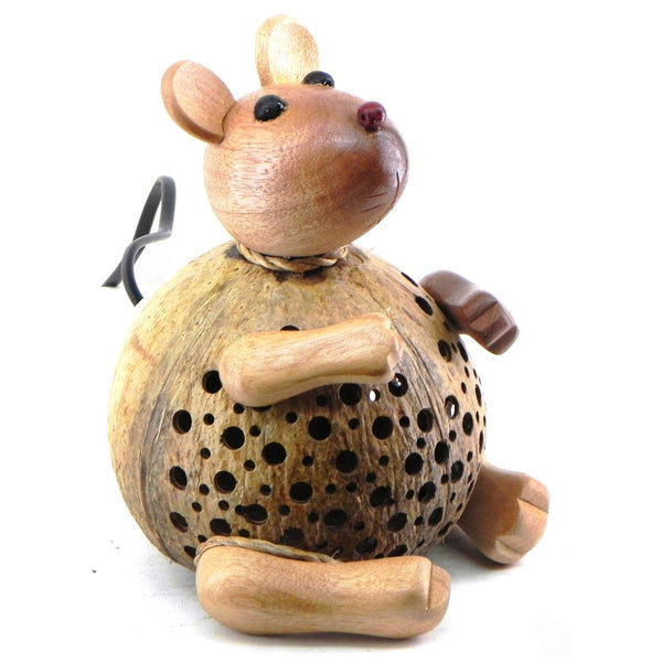 Lamp-coconut shell-sitting mouse-8''