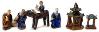 Bonsai set of miniature figurines, glazed