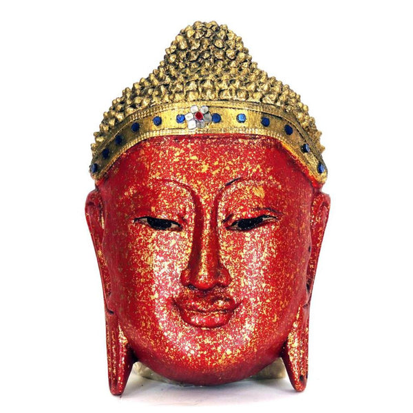 Buddha Mask, red and gold wood