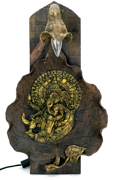 Ganesh in Leaf wall lamp