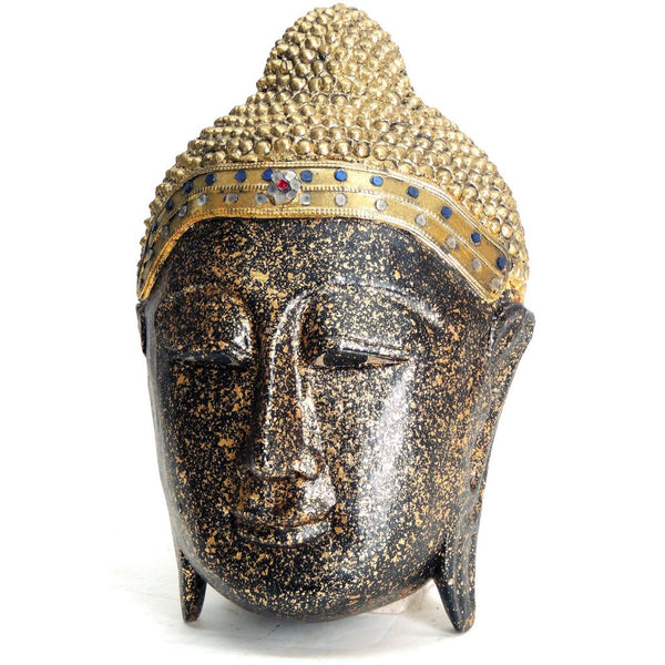 Buddha mask, black and gold wood