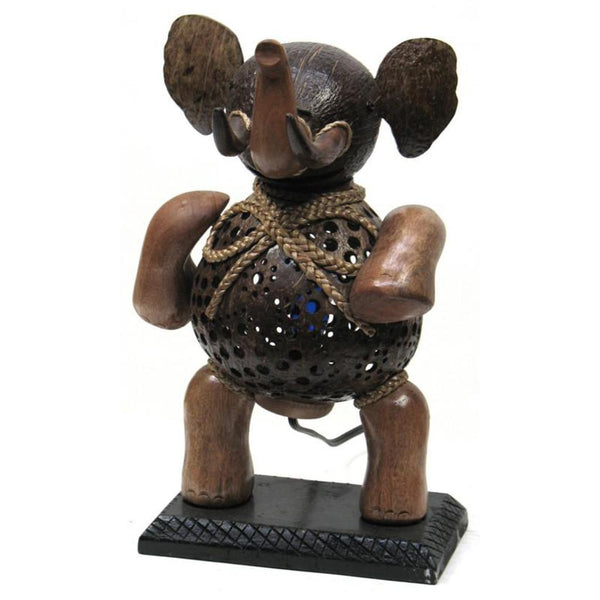 Lamp-coconut shell elephant standing