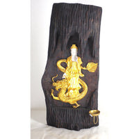 Altar plaque-Guan Yin teakwood log-19''