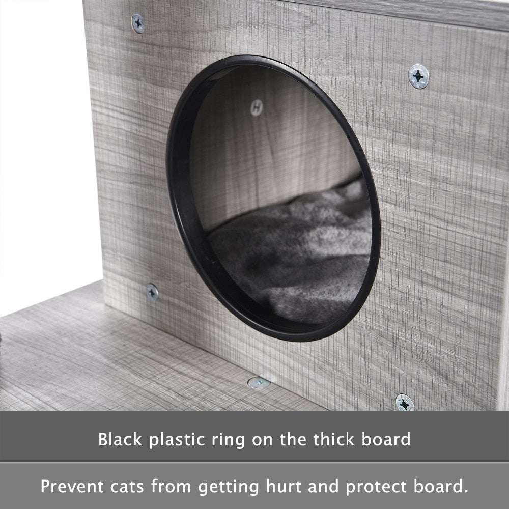 Modern Style Faux Wood Grained Cat Tree, Condo