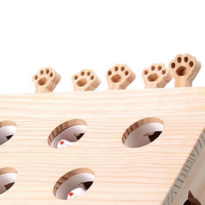 Solid Wooden Cat Toy Puzzle Interactive Toys