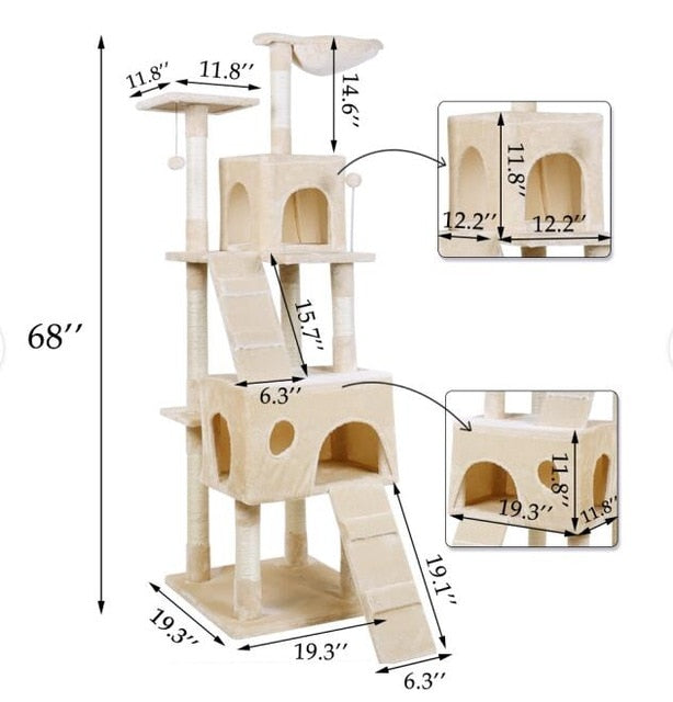 Beige Large Cat Condo With Ramps