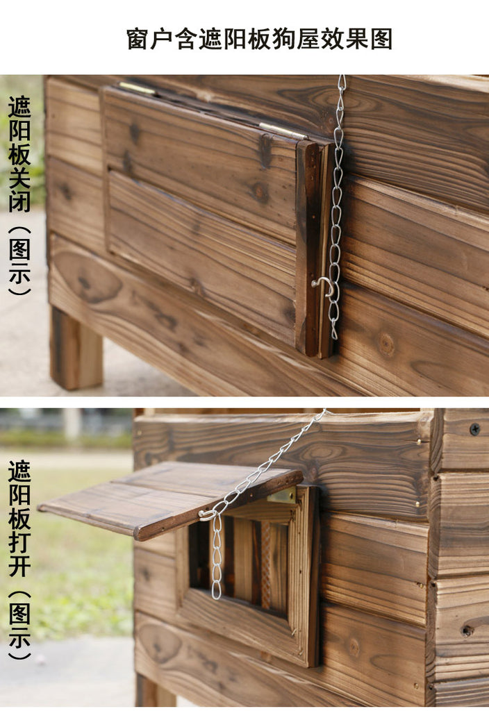 Big Outdoor Dog Cage - Rainproof Carbonized Wooden Dog House