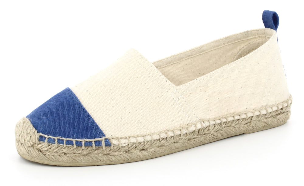 COLORANT ESPADRILLE SLIDES | NATURAL AND INDIGO CANVAS