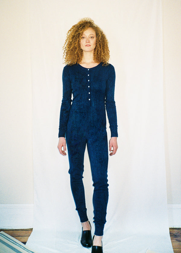 COLORANT CASHMERE UNION SUIT | INDIGO