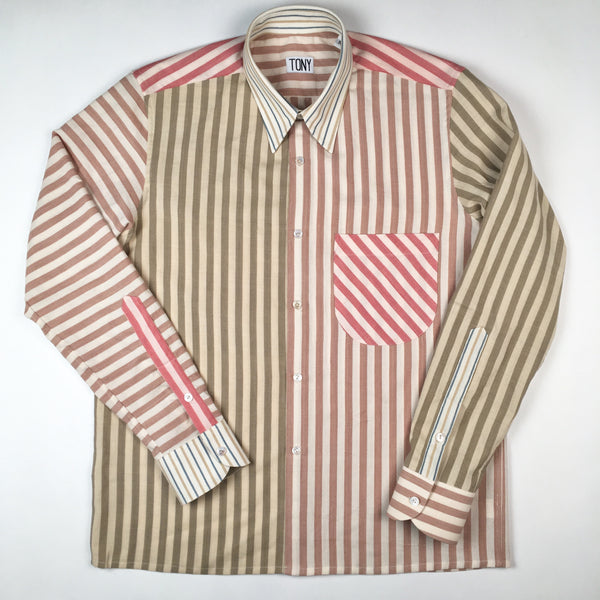 COLORANT X TONY SHIRTMAKER WOVEN COTTON SHIRT | MULT-STRIPE No. 4